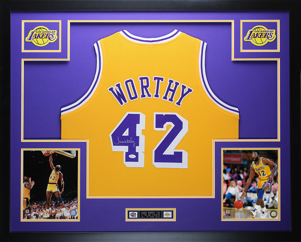 James Worthy Autographed and Framed Gold Lakers Jersey
