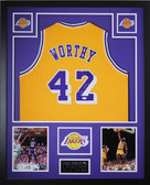 James Worthy Autographed and Framed Gold Lakers Jersey Auto JSA COA (D1-V)