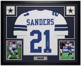Deion Sanders Autographed and Framed White Dallas Cowboys Jersey Auto JSA Certified