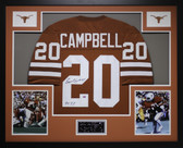 Earl Campbell Autographed HT 77 and Framed Orange Texas Longhorns Jersey GTSM COA