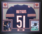 Dick Butkus Autographed HOF 79 and Framed Navy Chicago Bears Jersey Auto JSA COA