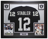 Ken Stabler Autographed and Framed Black Raiders Jersey Auto JSA COA