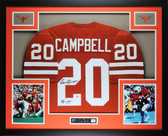 Earl Campbell Autographed HT 77 and Framed Orange Texas Longhorns Jersey GTSM Certified