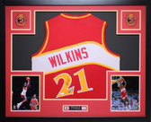 Dominique Wilkins Autographed and Framed Red Atlanta Hawks Jersey JSA Certified