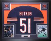 Dick Butkus Autographed HOF 79 and Framed Navy Bears Jersey Auto JSA COA