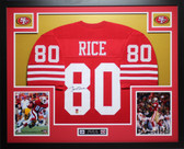 Jerry Rice Autographed and Framed Red 49ers Jersey Auto JSA COA (D7-L)