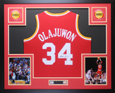 Hakeem Olajuwon Autographed and Framed Red Houston Rockets Jersey Auto JSA COA
