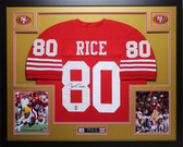 Jerry Rice Autographed and Framed Red 49ers Jersey Auto JSA COA (D8-L)