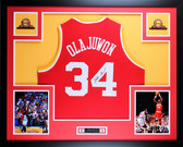 Hakeem Olajuwon Framed and Autographed Red Jersey Auto JSA COA
