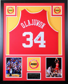 Hakeem Olajuwon Autographed and Framed Red Houston Rockets Jersey JSA COA