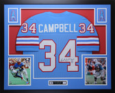 Earl Campbell Autographed HOF '91 and Framed Blue Houston Oilers Jersey JSA Certified
