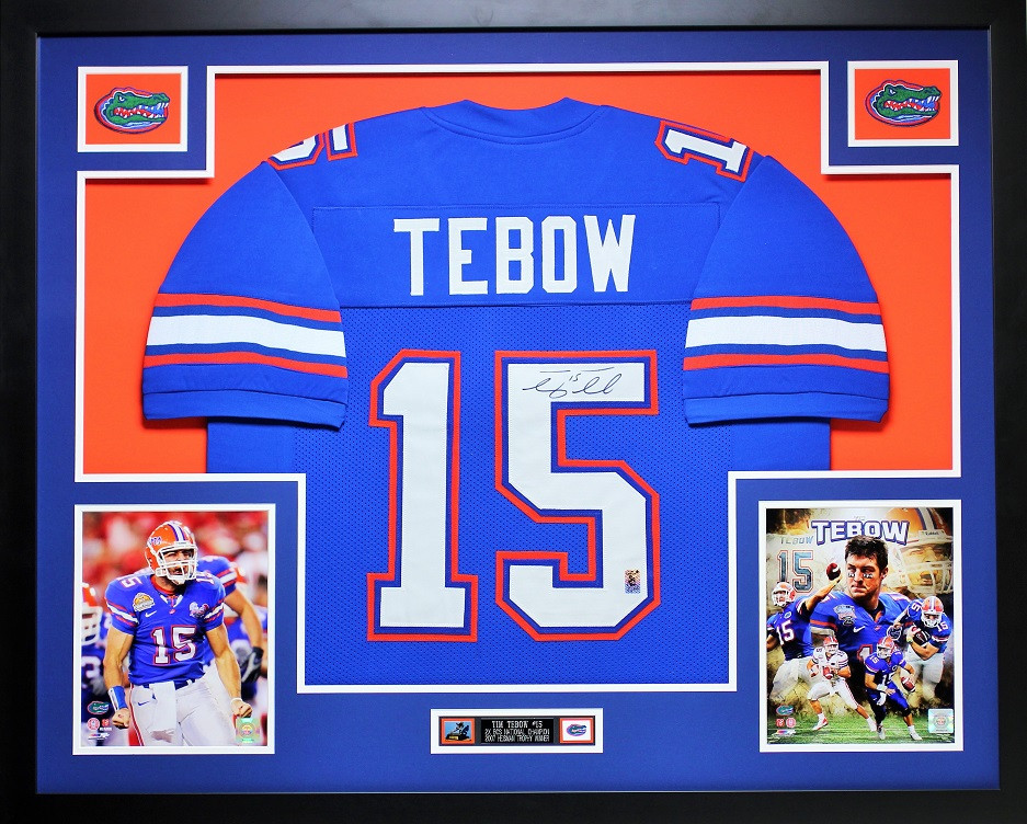 Tim Tebow Autographed And Framed Blue Gators College Style