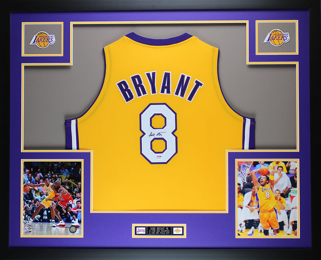 Kobe Bryant Autographed and Framed Gold Lakers #8 Jersey