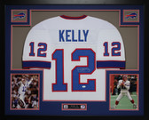 Jim Kelly Autographed & Framed White Buffalo Bills Jersey Auto JSA Certified