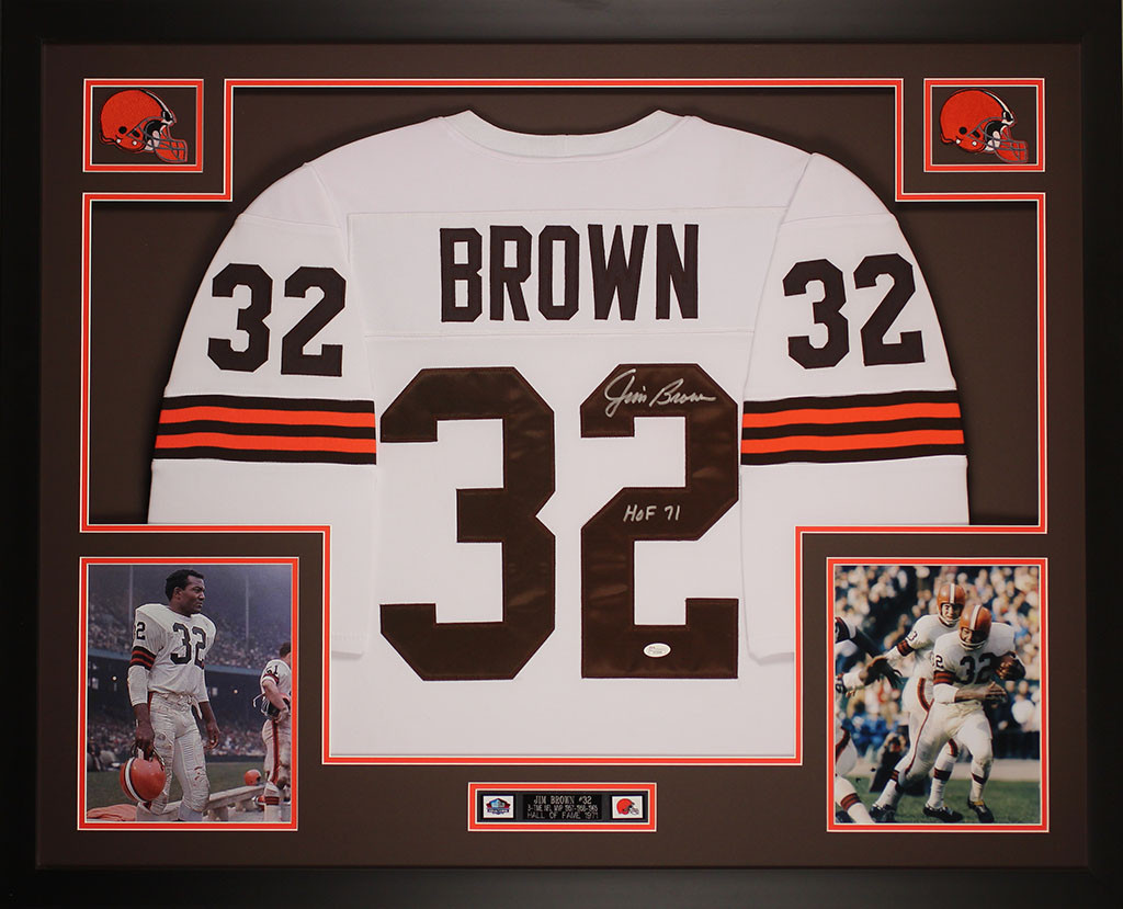 uk availability d16ec 471bf Jim Brown Autographed and Framed White Cleveland Browns Jersey