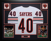 Gale Sayers Autographed and Framed White Chicago Bears Jersey Auto JSA Certified