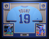 Robin Yount Autographed HOF and Framed Blue Milwaukee Brewers Jersey Auto PSA COA