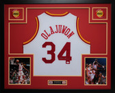 Hakeem Olajuwon Autographed and Framed White Houston Rockets Jersey JSA Certified