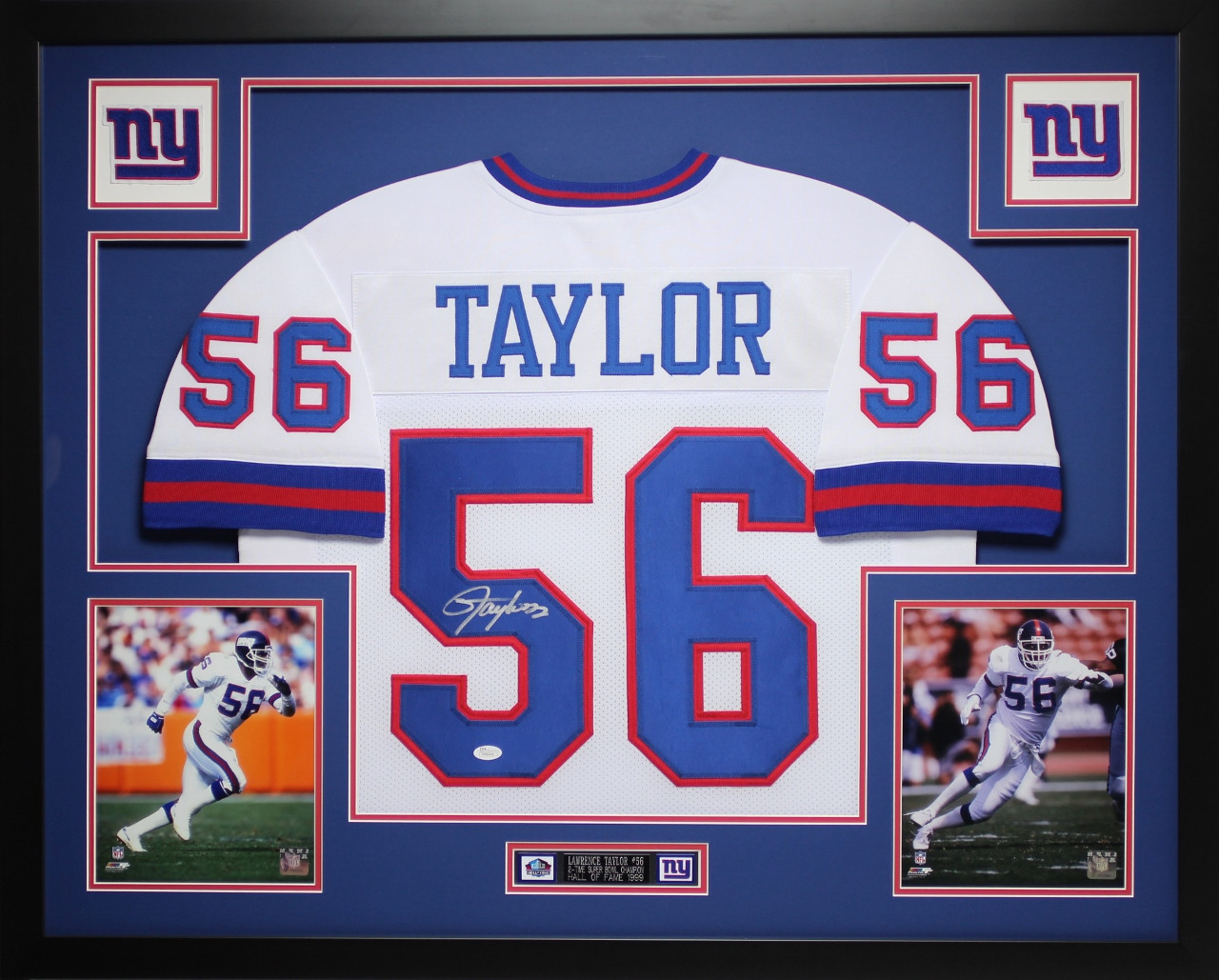 promo code c6bc5 0845e Lawrence Taylor Autographed and Framed White Giants Jersey