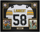 "Jack Lambert Autographed ""HOF 90"" and Framed White Pittsburgh Steelers Jersey Auto JSA Certified"