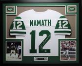 Joe Namath Autographed and Framed White New York Jets Jersey Auto JSA COA