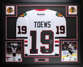 Jonathan Toews Autographed and Framed White Blackhawks Jersey Auto JSA COA D2-L
