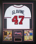 Tom Glavine Autographed HOF and Framed White Atlanta Braves Jersey JSA COA