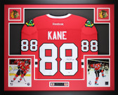 Patrick Kane Framed and Autographed Red Chicago Blackhawks Jersey Auto PSA COA