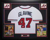 Tom Glavine Autographed HOF 14 and Framed White Atlanta Braves Jersey Auto JSA COA