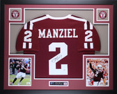 Johnny Manziel Autographed and Framed Maroon Texas A&M Aggies Jersey Auto PSA Certified