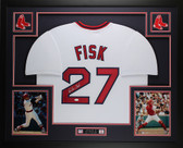 Carlton Fisk Autographed & Framed White Boston Red Sox  Jersey Auto JSA COA