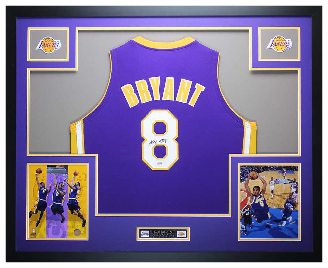 free shipping 102fa 9771f Kobe Bryant Autographed and Framed Purple Lakers Jersey