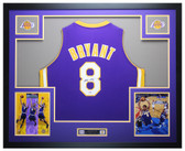 Kobe Bryant Autographed and Framed Purple Los Angeles Lakers #8 Jersey Auto PSA COA