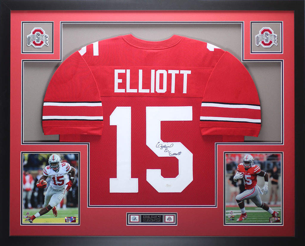 on sale 212e5 9d2dc Ezekiel Elliott Autographed and Framed Red Ohio State Jersey