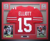 Ezekiel Elliott Autographed & Framed Red Ohio State Jersey JSA COA