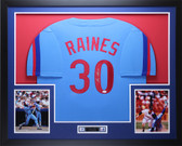Tim Raines Autographed & Framed Blue Montreal Expos Jersey Auto JSA COA