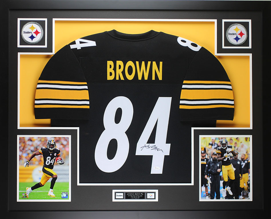 20211486287 Antonio Brown Autographed   Framed Black Pittsburgh Steelers Jersey Auto  JSA COA. Loading zoom
