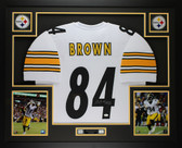 Antonio Brown Autographed & Framed White Pittsburgh Steelers Jersey Auto JSA COA