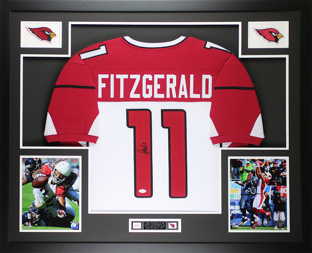 reputable site 4456b f1324 Larry Fitzgerald Autographed & Framed White Cardinals Jersey