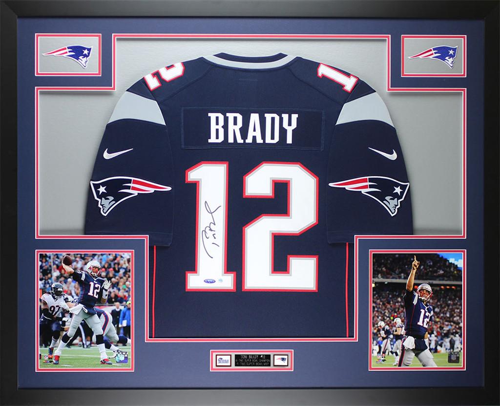 Tom Brady Autographed & Framed Navy Blue Patriots Jersey