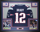 Tom Brady Autographed & Framed Navy Blue New England Patriots Jersey Auto Tristar COA