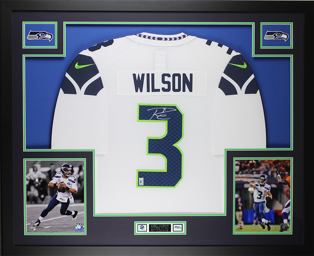 online retailer f4aa9 b2015 Russell Wilson Autographed & Framed White Seahawks Jersey
