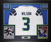 Russell Wilson Autographed & Framed White Seattle Seahawks Jersey Auto Wilson COA