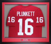 Jim Plunkett Autographed & Framed Red Stanford Cardinals Jersey COA GT