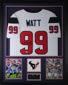 JJ Watt Autographed & Framed White Houston Texans Jersey Auto JSA Certified