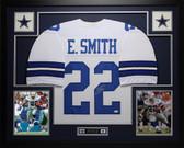 Emmitt Smith Autographed & Framed White Dallas Cowboys Jersey Auto JSA COA