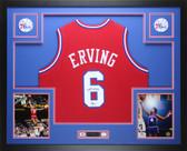 Julius Dr. J  Erving  Autographed & Framed  Red Philadelphia 76ers Jersey JSA COA