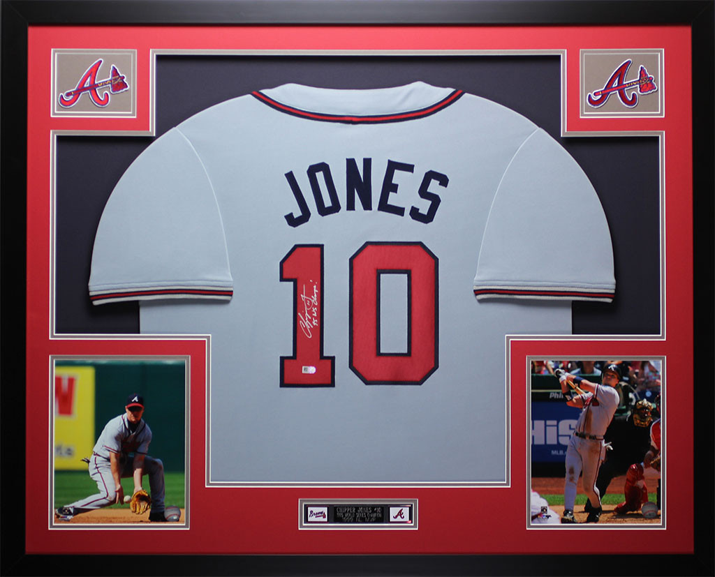 separation shoes 17938 cae85 Chipper Jones Autographed and Framed Gray Atlanta Braves Jersey