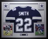 Emmitt Smith Autographed & Framed Blue Dallas Cowboys Jersey Auto JSA COA