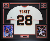 Buster Posey Autographed & Framed Cream Giants Jersey Auto PSA COA D8-L